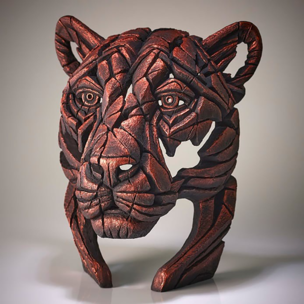 Edge Sculpture Panther Bust - Jungle Flame - Bronze Side