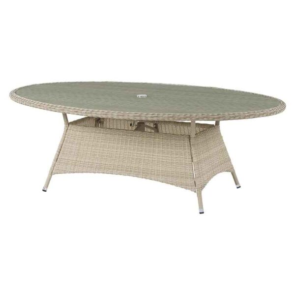 Elliptical (Oval) Table in Sandstone with recessed glass table top