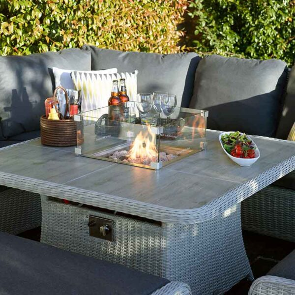 Enjoy the glow around the Monterey Square Firepit Table in Dove Grey