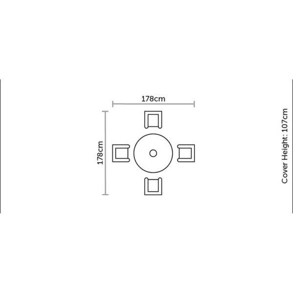 Bramblecrest Cover in Khaki for 96cm Round Bar Set Dimensions