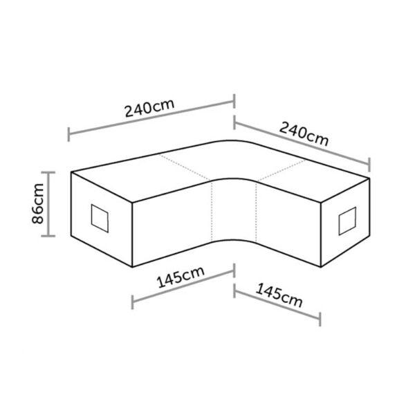Bramblecrest Curved Corner Sofa Cover in Khaki Dimensions