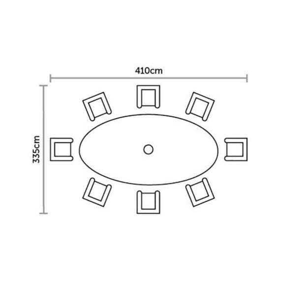 Footprint for Bramblecrest Monterey 8 Seat Oval Dining Set with Lazy Susan, Parasol & Base