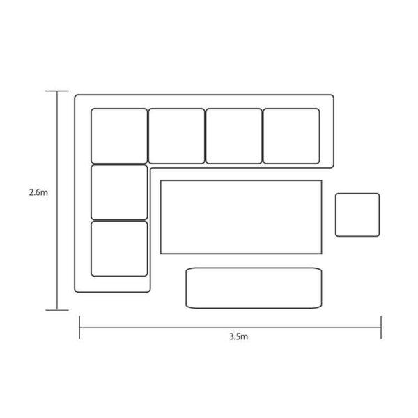 Footprint for Hartman Singapore Rectangular Corner Platform Set
