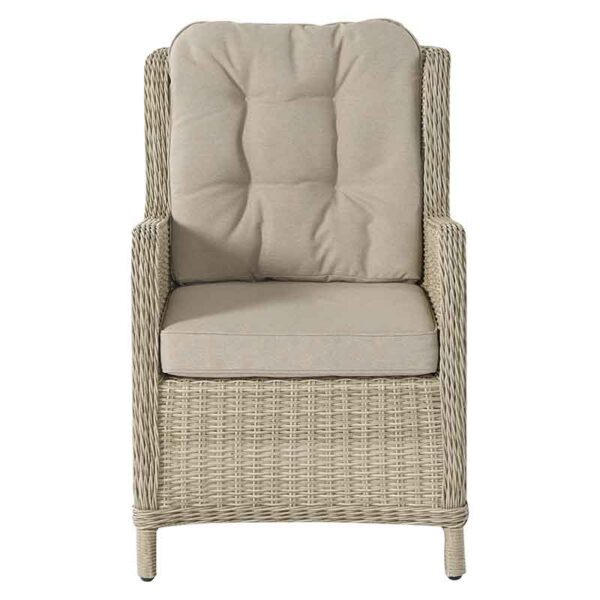 Front of high back Armchair in Sandstone with season-proof Herringbone Barley cushions