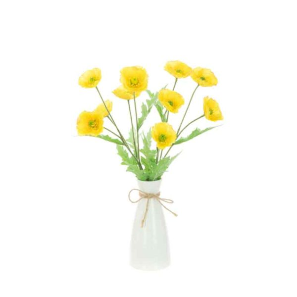 Floralsilk Yellow Poppies in Ripple Vase (43cm)