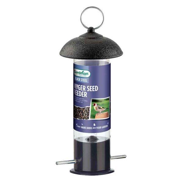 Gardman Black Steel Nyjer Seed Feeder for Wild Birds