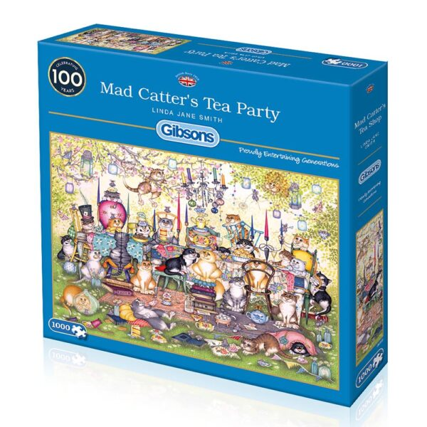Gibsons Mad Catter's Tea Party 1000 Piece Jigsaw