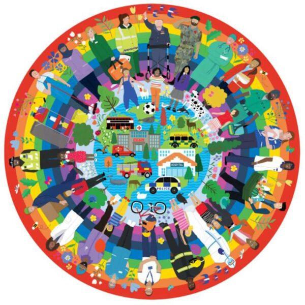 Gibsons Rainbow Heroes Circular 500pc Jigsaw Puzzle