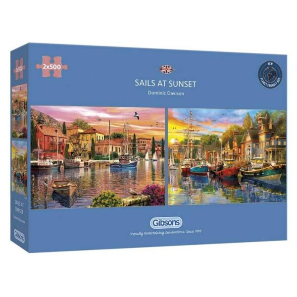 Gibsons Sails At Sunset 2 x 500 Piece Jigsaw Puzzle Box