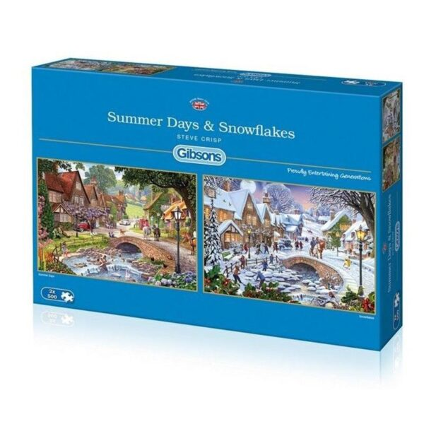 Gibsons Summer Days & Snowflakes 2 x 500 Piece Jigsaw Puzzles