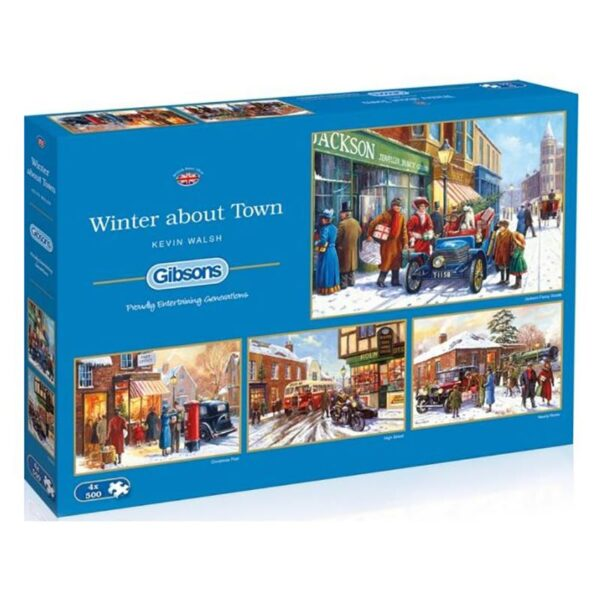 Gibsons Winter About Town 4 x 500 Piece Jigsaw Puzzles