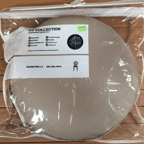 Glencrest CC Collection Taupe Round Bistro Pad (Pack of 2)