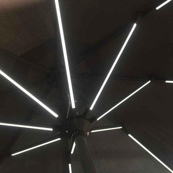 Glencrest Sturdi 2.7m Round LED Solar Grey Parasol