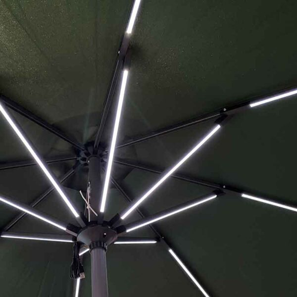 Glencrest Sturdi 2.7m Round LED Solar Parasol Green
