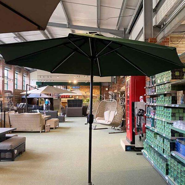 Glencrest Sturdi 2.7m Round LED Solar Parasol (Green)