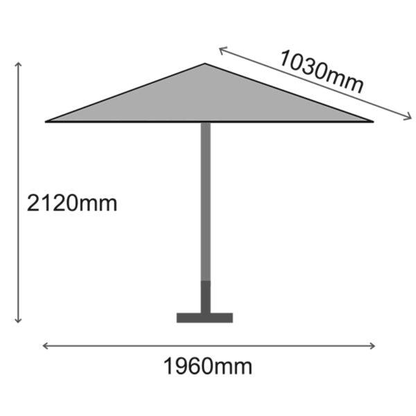 Glencrest Sturdi Plus 2m Aluminium Round Parasol Dimensions