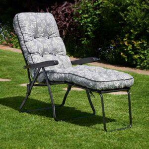 Glendale Deluxe Garden Lounger in Aspen Grey Leaf