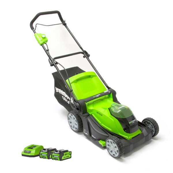 Greenworks 40V 41cm Lawnmower With 2 x 2Ah Batteries & Charger