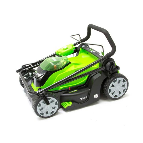 Greenworks 40V 41cm Lawnmower With 2 x 2Ah Batteries & Charger folded