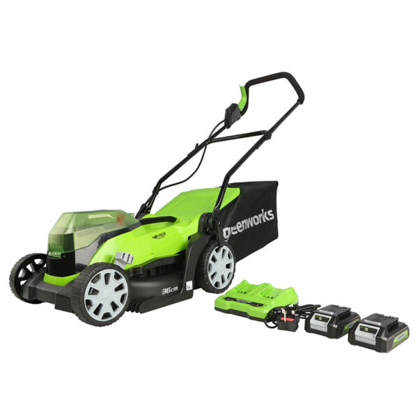 Greenworks 48V 36cm Lawnmower with 2 x 2Ah Batteries & Charger