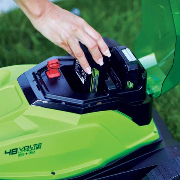 Greenworks 48V 36cm Lawnmower with 2 x 2Ah Batteries & Charger battery in