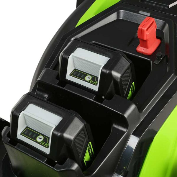 Greenworks 48V 36cm Lawnmower with 2 x 2Ah Batteries & Charger battery slot