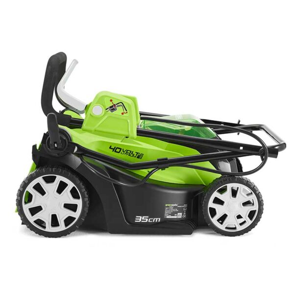 Greenworks Lawnmower 40V 35cm With 2Ah Battery & Charger folded