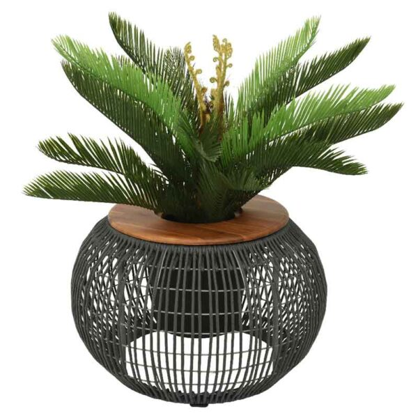 Grey Seville Rope Round Side Table as a planter