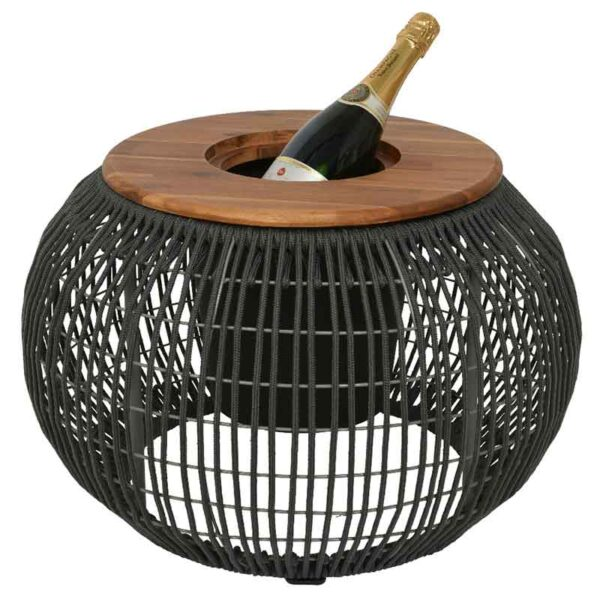 Grey Seville Rope Round Side Table as an ice bucket