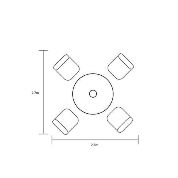 Hartman Berkeley 4 Seat Round Set dimensions