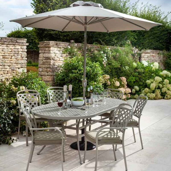 Hartman Berkeley 6 Seat Oval Garden Dining Set with 3m Parasol & 15kg Base (Maize & Wheatgrass)