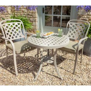 Hartman Berkeley Bistro Set in Maize with Wheatgrass Cushions