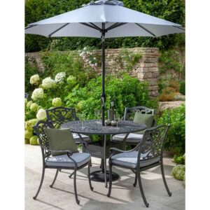 Hartman Capri 4 Seat Round Dining Set in Antique Grey with Platinum Cushions, Parasol and Base