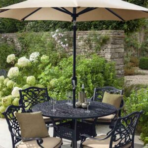 Hartman Capri 4 Seat Round Dining Set in Bronze with Amber Cushions, Parasol and Base