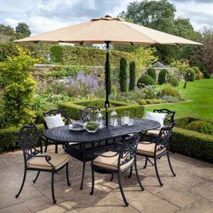 Hartman Capri 6 Seat Oval Set Bronze with Amber Cushions, Parasol and Base