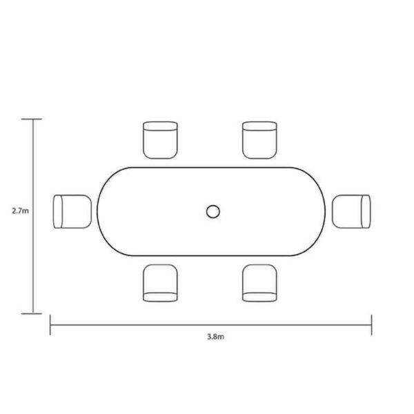 Hartman Capri 6 Seat Oval Set dimensions