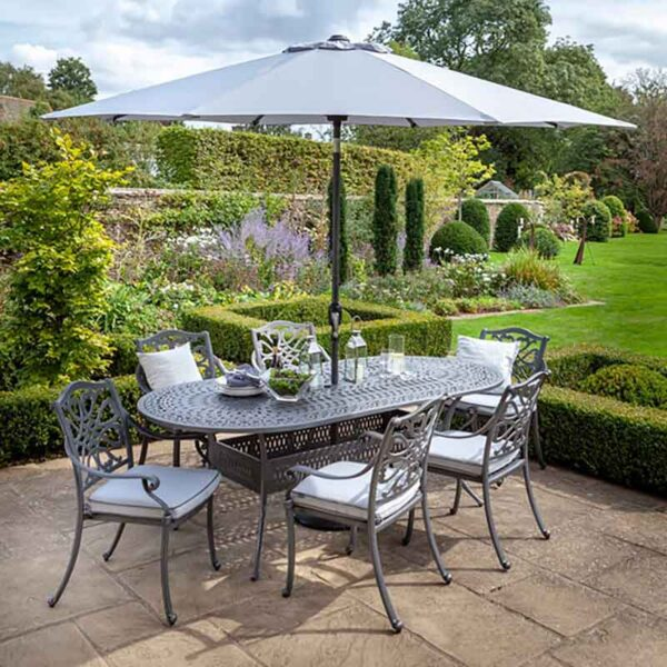 Hartman Capri 6 Seat Oval Set in Antique Grey with Platinum Cushions, Parasol and Base