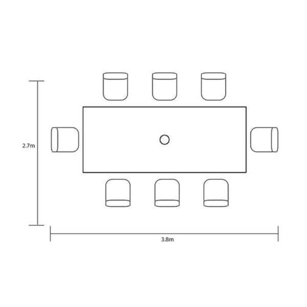 Hartman Capri 8 Seat Rectangular Dining Set dimensions