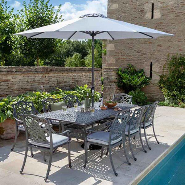 Hartman Capri 8 Seat Rectangular Dining Set in Antique Grey with Platinum Cushions, Parasol and Base
