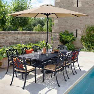 Hartman Capri 8 Seat Rectangular Dining Set in Bronze with Amber Cushions, Parasol and Base