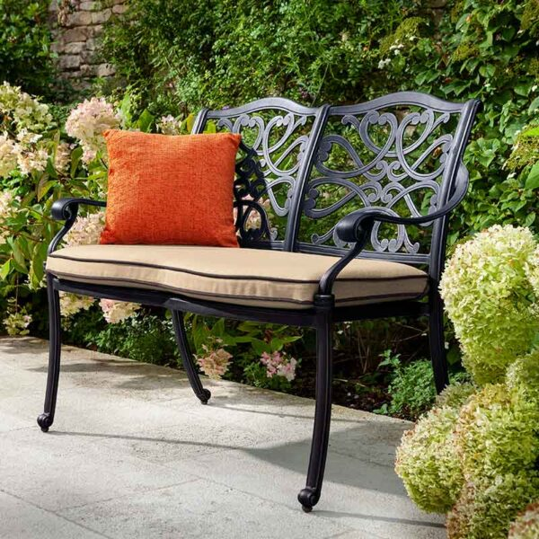 Hartman Capri Bench in Bronze with Amber Cushion