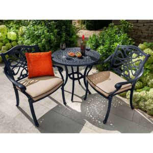 Hartman Capri Bistro Set in Bronze with Amber Cushions