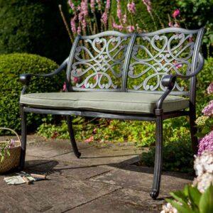 Hartman Capri Metal Garden Bench in Bronze
