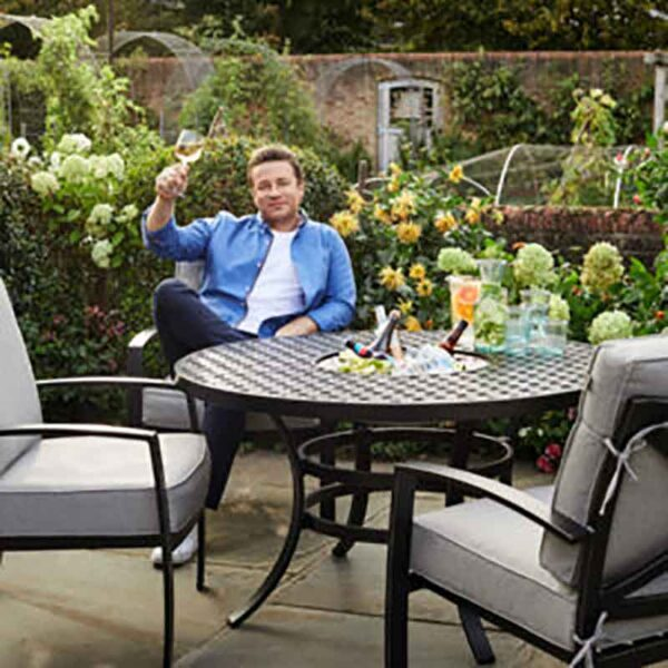 Hartman Jamie Oliver 4 Seat Fire Pit Set in Riven & Pewter