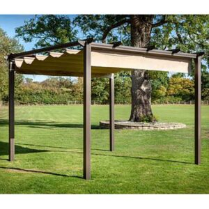 Hartman Roma Pergola 3m x 3m including Canopy & Curtains - Bronze/Caramel