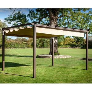 Hartman Roma Rectangular Pergola with Curtain Pack 4m x 3m – Bronze/Caramel