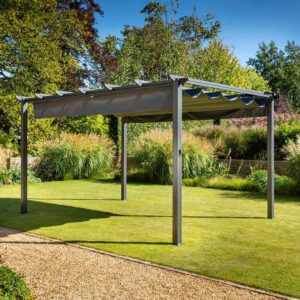 Hartman Roma Rectangular Pergola with Curtain Pack 4m x 3m – Grey