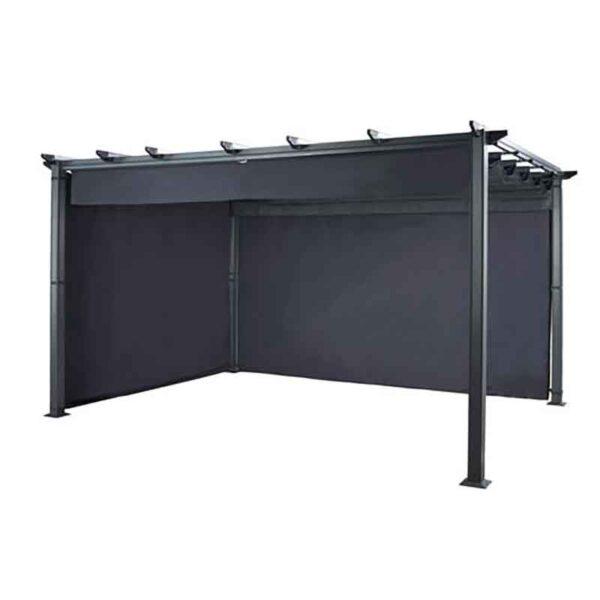 Hartman Roma Rectangular Pergola with Curtain Pack 4m x 3m in Grey