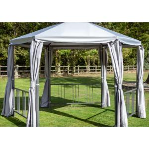 Hartman 3.5m Hexagonal Grey Gazebo with Light Grey Curtains