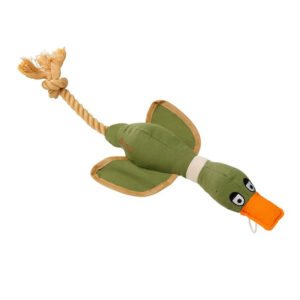 House of Paws Duck Canvas Thrower Dog Toy Khaki